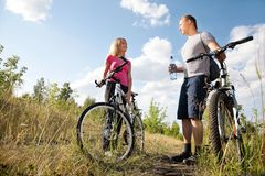 Resting after biking Royalty Free Stock Photography