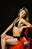 Resting boxing girl Royalty Free Stock Image