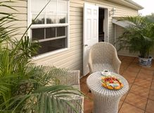 Resting chairs on the veranda. At home stock image