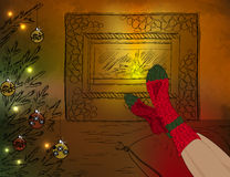 Resting in Christmas room with fireplace and Chris Stock Images