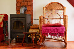 Resting corner with wicker chair Royalty Free Stock Photography