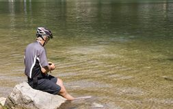Resting cyclist Stock Photo