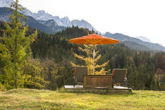 Resting deck with mountain view royalty free stock images