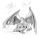 Resting dragon. On a white background Stock Photo