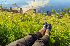 Resting feet in the green Royalty Free Stock Photography