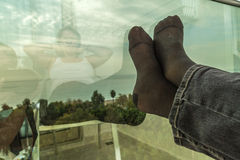 Resting feet mirrored Stock Image