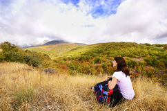 Resting female hiker Royalty Free Stock Photography
