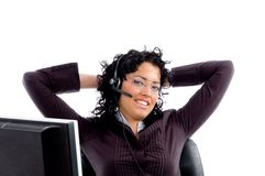 Resting female tallking with headset Stock Image