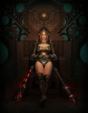 Resting between the Fights, 3d CG. 3D computer graphics of a female warrior with fantasy clothing and weapons Royalty Free Stock Image