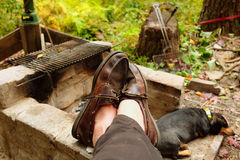 Resting by the fire Royalty Free Stock Photo