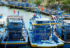 Resting fishing boats in Vietnam Stock Photo