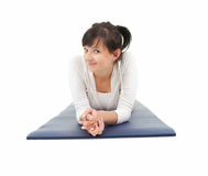 Resting fitness girl after stretching exercise Stock Photos