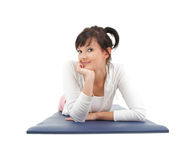 Resting fitness woman after stretching exercise Stock Photography