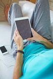 Resting with gadgets Stock Photos