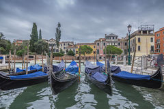 Resting gondolas in Venice. Italy,canal view Royalty Free Stock Photo
