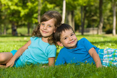 Resting on the green grass stock photography