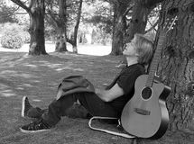 Resting Guitarist Royalty Free Stock Images