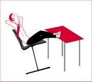 Resting guy. At the office work enjoy stock illustration
