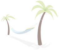 Resting hammock between palm trees Royalty Free Stock Photos
