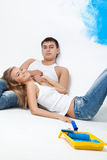 Resting happy young loving couple Stock Images