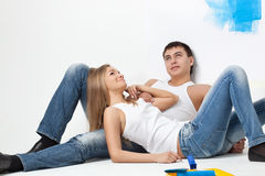 Resting happy young loving couple Royalty Free Stock Images