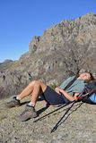 Resting in hike Royalty Free Stock Image