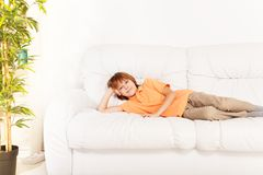 Resting at home on sofa Royalty Free Stock Photography