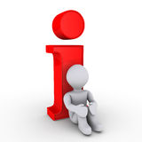 Resting on information. 3d person is resting on red information symbol Royalty Free Stock Photography