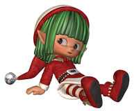 Resting little christmas elf royalty free stock photos