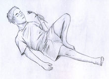 Resting man. Resting young man with a blade of grass in his hand. Pencil drawing, sketch Royalty Free Stock Photography