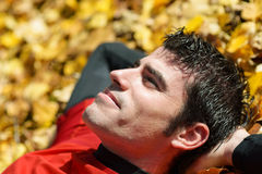Resting and meditating sportsman Stock Photography