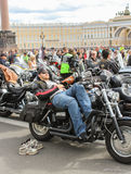 Resting on a motorcycle biker. Stock Photography