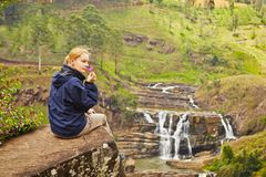 Resting near waterfall Royalty Free Stock Photo