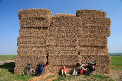 Resting next to haystack Royalty Free Stock Photography