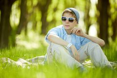 Resting outdoors Stock Images