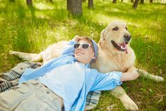 Resting with pet Royalty Free Stock Photo