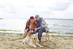 Resting with pet Royalty Free Stock Images