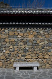 Resting place. Stone bench against stone wall in temple, Yunnan, China Stock Photos