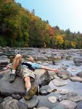 Resting Place. An adequate place to take a break...in the middle of a river Stock Photography