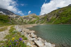 Resting place on the Großglockner high alpine road. Austria royalty free stock photo