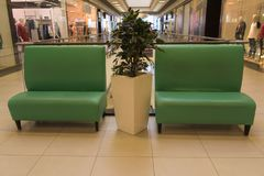 Resting place in the Mall. Sofas for rest.  royalty free stock photos