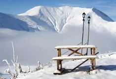Resting place. Morning in the winter mountains. Resting place stock images