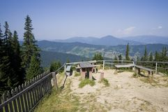 Resting place in mountain. Summer landscape in Romanian Carpathians Stock Images