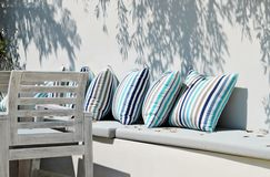 Resting place outdoor with pillows Royalty Free Stock Photo