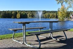 The bench by the lake stock photography