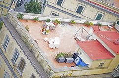 Resting place on roof. Resting place made on roof of house in Italy stock photography