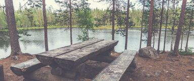 Resting place on trekking route Small bear round, Finland. Oulanka National Park royalty free stock images