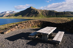 Resting place with a view of the mountains in Iceland Royalty Free Stock Images