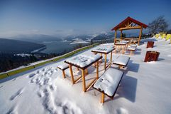 Resting place in winter. Touristic resting place covered in snow, Romania Stock Images