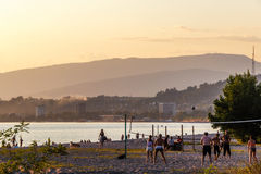 The resting play volleyball on a beach Sinop in capital of Abkha Stock Images